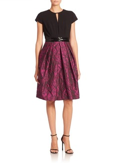 Carmen Marc Valvo Short Sleeve Textured Dress