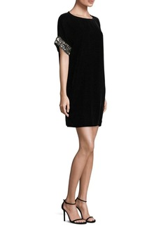 Carmen Marc Valvo Short-Sleeve Velvet Chemise Shift Dress