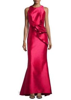 Carmen Marc Valvo Side-Peplum Sleeveless Gown