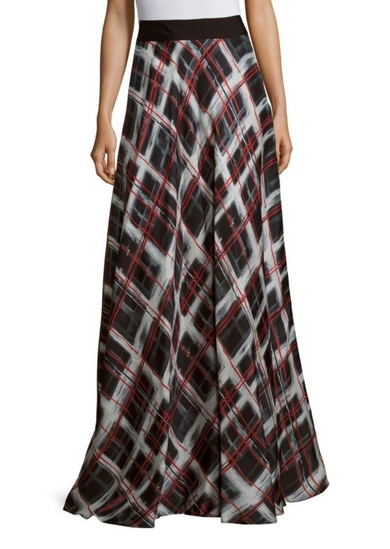 Carmen Marc Valvo Silk Gazar Patterned Skirt