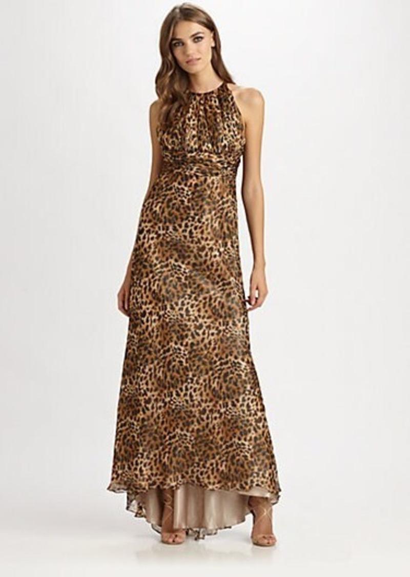 Carmen Marc Valvo Silk Leopard Print Gown