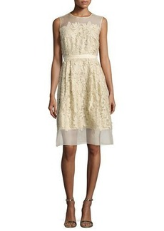 Carmen Marc Valvo Sleeveless 3D Floral Cocktail Dress