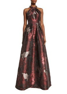 Carmen Marc Valvo Sleeveless Abstract Floral Ball Gown
