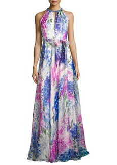 Carmen Marc Valvo Sleeveless Abstract Floral Silk Gown