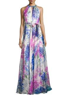 Carmen Marc Valvo Sleeveless Abstract Floral Silk Gown