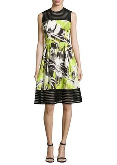 Carmen Marc Valvo Sleeveless Abstract-Print A-Line Dress