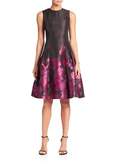Carmen Marc Valvo Sleeveless Abstract Printed Dress
