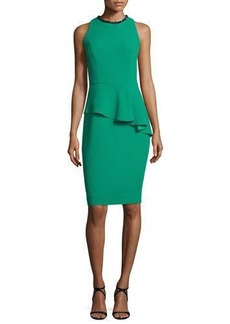 Carmen Marc Valvo Sleeveless Asymmetric Peplum Sheath Dress