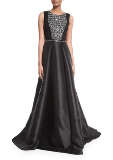 Carmen Marc Valvo Sleeveless Beaded Combo Gown