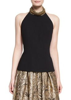 Carmen Marc Valvo Sleeveless Beaded-Neck Halter Sweater