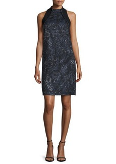 Carmen Marc Valvo Sleeveless Beaded Paisley Cocktail Dress