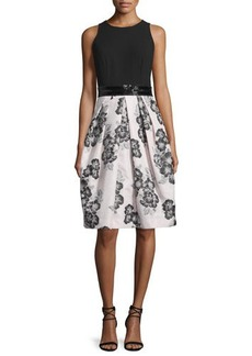 Carmen Marc Valvo Sleeveless Beaded-Waist Floral-Print Dress