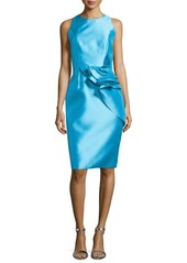 Carmen Marc Valvo Sleeveless Cocktail Dress with Ruffled Waist