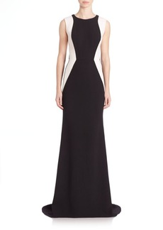 Carmen Marc Valvo Sleeveless Colorblock Gown