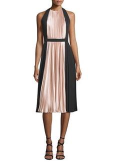Carmen Marc Valvo Sleeveless Colorblock Pleated Cocktail Dress