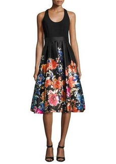 Carmen Marc Valvo Sleeveless Combo Floral Midi Cocktail Dress