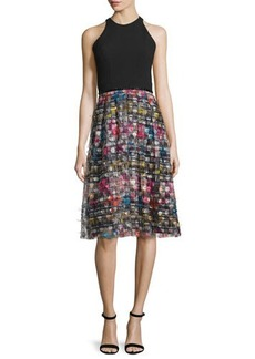 Carmen Marc Valvo Sleeveless Combo Striped Midi Cocktail Dress