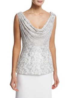 Carmen Marc Valvo Sleeveless Cowl-Neck Embroidered Top