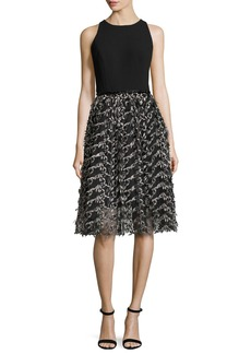 Carmen Marc Valvo Sleeveless Crepe & Embroidered Mesh Cocktail Dress