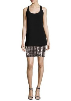 Carmen Marc Valvo Sleeveless Crepe & Jersey Tank Dress