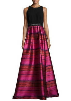 Carmen Marc Valvo Sleeveless Crepe & Striped Taffeta Ball Gown