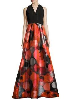 Carmen Marc Valvo Sleeveless Crepe & Taffeta Gown