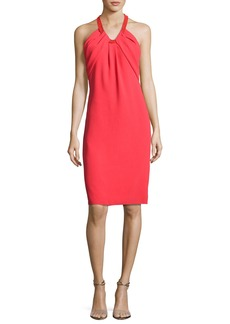Carmen Marc Valvo Sleeveless Crepe Cocktail Dress