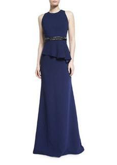 Carmen Marc Valvo Sleeveless Crepe Peplum Gown