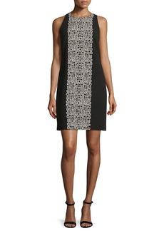 Carmen Marc Valvo Sleeveless Crepe Tile-Print Shift Dress