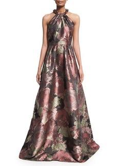 Carmen Marc Valvo Sleeveless Crisscross Beaded-Neck Floral Ball Gown