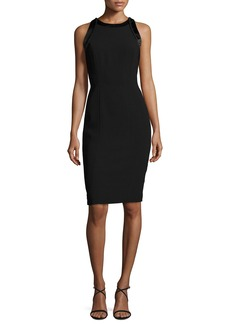 Carmen Marc Valvo Sleeveless Cutout Crepe Cocktail Dress