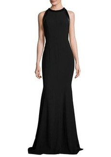 Carmen Marc Valvo Sleeveless Cutout Crepe Mermaid Gown