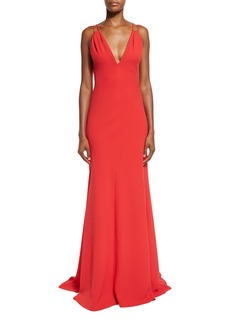 Carmen Marc Valvo Sleeveless Double-Strap Jersey Gown