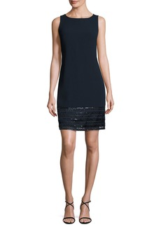 Carmen Marc Valvo Sleeveless Embellished Crepe Cocktail Dress