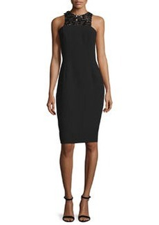 Carmen Marc Valvo Sleeveless Embellished-Front Structured Cocktail Dress