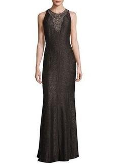 Carmen Marc Valvo Sleeveless Embellished Jacquard Gown