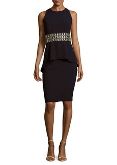 Carmen Marc Valvo Sleeveless Embellished Peplum Dress