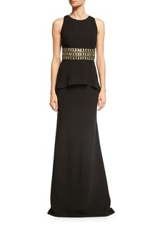 Carmen Marc Valvo Sleeveless Embellished Peplum Jersey Dress