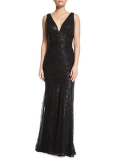 Carmen Marc Valvo Sleeveless Embellished Ruched Gown