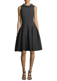 Carmen Marc Valvo Sleeveless Embellished Textured Crepe Cocktail Dress