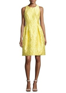 Carmen Marc Valvo Sleeveless Floral Brocade Cocktail Dress