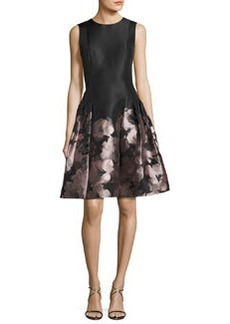 Carmen Marc Valvo Sleeveless Floral Brocade Fit-and-Flare Dress