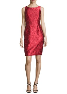 Carmen Marc Valvo Sleeveless Floral Brocade Sheath Dress