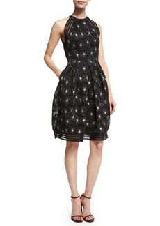 Carmen Marc Valvo Sleeveless Floral-Embroidered Mesh Fit & Flare Dress
