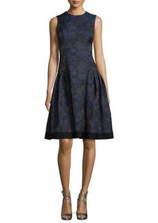 Carmen Marc Valvo Sleeveless Floral-Jacquard A-Line Dress
