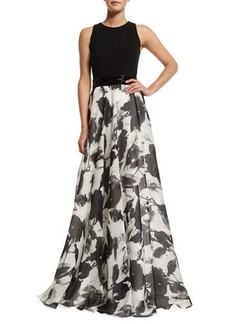 Carmen Marc Valvo Sleeveless Floral Jacquard Ball Gown