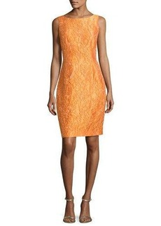 Carmen Marc Valvo Sleeveless Floral Jacquard Cocktail Dress