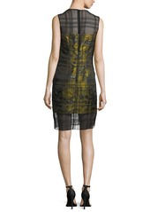 Carmen Marc Valvo Sleeveless Floral-Jacquard Embroidered Organza Cocktail Dress