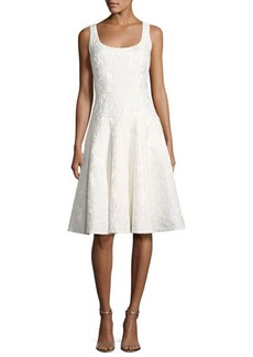 Carmen Marc Valvo Sleeveless Floral Jacquard Fit-and-Flare Cocktail Dress
