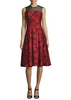 Carmen Marc Valvo Sleeveless Floral Jacquard Fit-and-Flare Dress